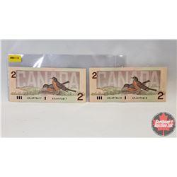 Canada $2 Bills 1986 (2 Sequential) : Crow/Bouey ARJ6970617/18