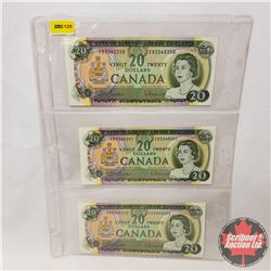 Canada $20 Bills 1969 (3 Sequential) : Beattie/Rasminsky EB2263250/51/52