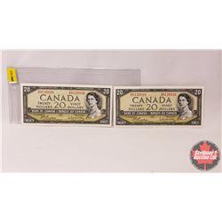 Canada $20 Bills 1954 (2 Sequential) : Beattie/Rasminsky GW6120809/10