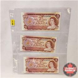 Canada $2 Bills 1974 (3 Sequential) : Crow/Bouey ARB5883578/79/80