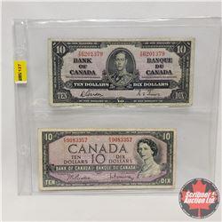 Canada $10 Bills (2) : 1937 Gordon/Towers YD6201379 & 1954 Beattie/Rasminsky FV9083357