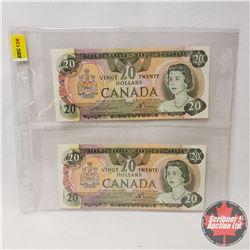 Canada $20 Bills 1979 (2 Sequential) : Lawson/Bouey 50003222822/23
