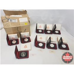 RCM Case Lot (9) : 1952-1977 Canadian $1 Throne of the Senate Silver Jubilee In Capsule and Cases (N