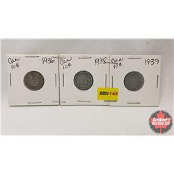 Canada Ten Cent - Strip of 3: 1936; 1938; 1939