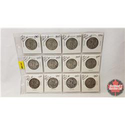 US Half Dollar - Sheet of 12 : 1942; 1942; 1941; 1941; 1944; 1944; 1943; 1943; 1946; 1946; 1945; 194