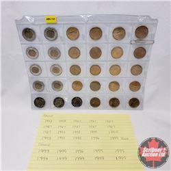 Canada Toonie & Loonie - Sheet (30 Coins) (1980's/1990's) : (Loonie x 19) (Toonie x 11) (See Picture