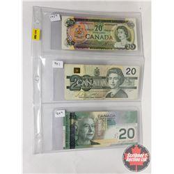 Canada $20 Bills (3) : 1969 ; 1991; 2004