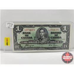 Canada $1 Bill 1937 Coyne/Towers S/N#LN2714271
