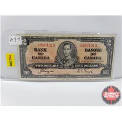 Canada $2 Bill 1937 Coyne/Towers S/N#LR2661015