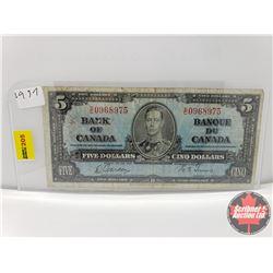 Canada $5 Bill 1937 Gordon/Towers S/N#SC0968975