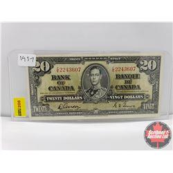Canada $20 Bill 1937 Gordon/Towers S/N#CE2243607