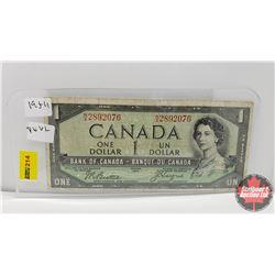 Canada $1 Bill 1954 : Beatty/Coyne NA2892076