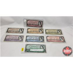 Canada Bills 1954 Series (8 Bills) : $1; $2; $5; $10; $20; $50; $100; $1000