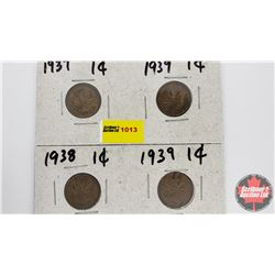 Canada One Cent - Group of 4: 1937; 1939; 1938; 1939