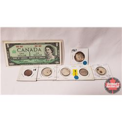 Canada Centennial : $1 Bill (No S/N#) & Fifty Cent; Twenty Five Cent (4); One Cent