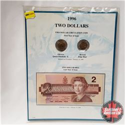 1996 TWO DOLLARS Cardboard Mounted Coins & Bill