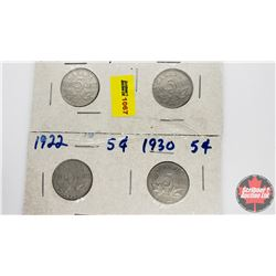 Canada Five Cent - Strip of 4: 1930; 1930; 1930; 1922