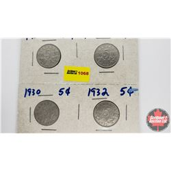 Canada Five Cent - Strip of 4: 1931; 1930; 1930; 1932