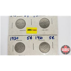 Canada Five Cent - Strip of 4: 1930; 1930; 1930; 1931