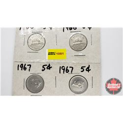 Canada Five Cent - Strip of 4: 1966; 1966; 1867-1967; 1867-1967