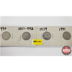 Canada Five Cent - Strip of 4: 1990; 1867-1992; 1979; 1991