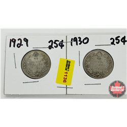 Canada Twenty Five Cent - Strip of 2: 1929; 1930