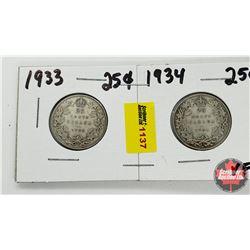 Canada Twenty Five Cent - Strip of 2: 1933; 1934