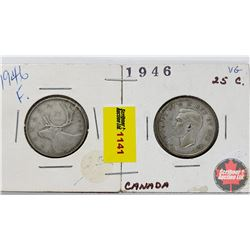 Canada Twenty Five Cent - Strip of 2: 1946; 1946