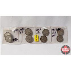 Canada Twenty Five Cent - Strip of 8: 1946; 1948; 1954 x 4; 1947ML x 2