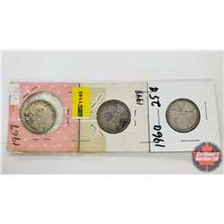 Canada Twenty Five Cent - Strip of 3: 1967; 1948; 1960