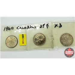 Canada Twenty Five Cent - Strip of 3: 1960