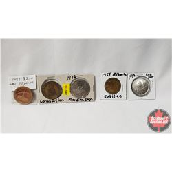 Variety Tokens (5) : Coronation; Klondike Days 1972; 1947-1997 Leduc; 1955 Alberta Jubilee; 1988 Red