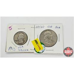 US Coins - Strip of 2: 1943 Quarter; 1952D Half Dollar