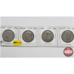 US Half Dollar - Strip of 4: 1971D; 1972D; 1973; 1974D