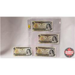 Canada 1973 $1 Bills (4) : (ALA5949851; ALB6578266; ALC2591342; ALD0940091)