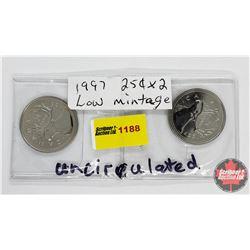 Canada Twenty Five Cent - Strip of 2: 1997; 1997