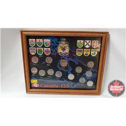 Canada 125 Quarter/Loonie Provincial Set - Card Mounted & Framed