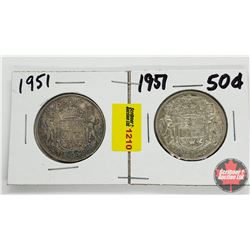 Canada Fifty Cent - Strip of 2: 1951; 1951
