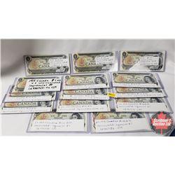 Canada $1 Bills (85 Sequential) : Lawson/Bouey LG9867615-699