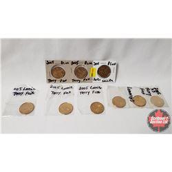Canada 2005 Loonies - Terry Fox (8) & Parks Canada (1)