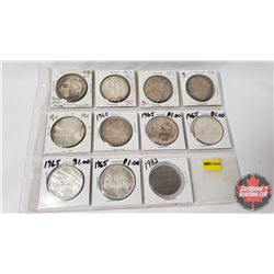 Canada Dollar Collection - Sheet of 11 : 1958; 1958; 1959; 1961; 1961; 1965; 1965; 1965; 1965; 1965;