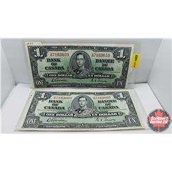 Canada $1 Bills 1937 (2 Sequential) Gordon/Towers DM7163659/60