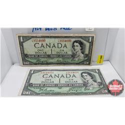 Canada $1 Bills 1954DF (2) Coyne/Towers FA3554690 & Beattie/Coyne IA3114051