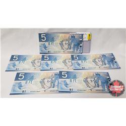 Canada $5 Bills 2002 (6 Sequential) AOA6643836-41