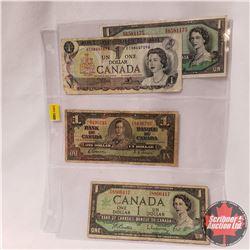Canada $1 Bills (4 Varieties/Dates) 1937; 1954; 1967; 1973