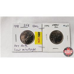 Canada Twenty Five Cent - Strip of 2: 1991; 1991