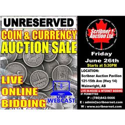 Session 1 : Coin & Currency Auction : June 26th 2020 - LIVE WEBCAST ONLINE ONLY !