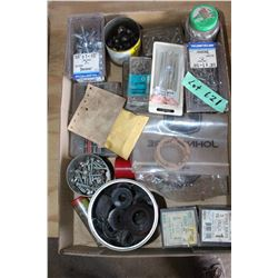 Flat with Stove Bolts, Shock Absorbers, Washers, Grease Nipples and other Assorted Bolts