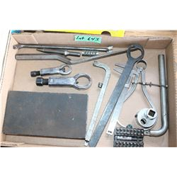 Flat with Miscellaneous Tools, Calipers, a Drive All Set, a Snap-On Bolt Easy Out, etc.