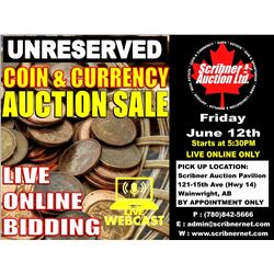Coin & Currency Auction : June 12th 2020  - LIVE ONLINE ONLY !